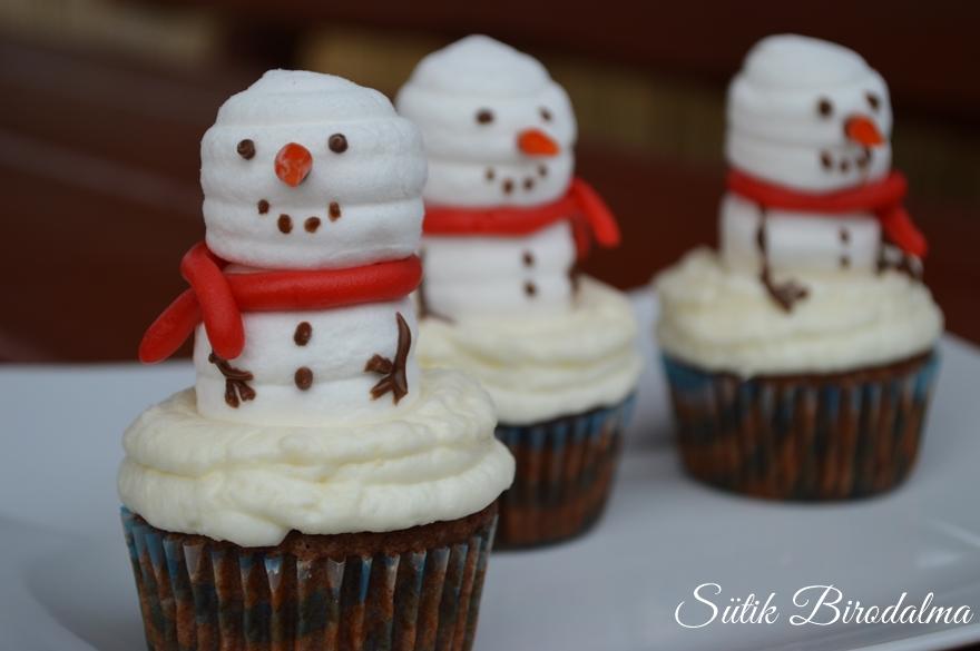 Hóember muffin készítése videóval és recepttel